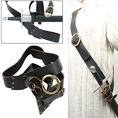 Leather Right Handed European Baldric Black Belt (Baldric Sword Belt compare prices)