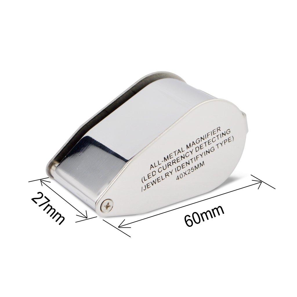 40 x 25 mm Lente di ingrandimento da gioielliere con lente LED UV iKKEGOL