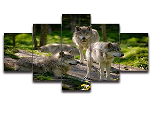 5 Piece Painting on Canvas Modern Wall Art The Picture For Home Decoration Blue Eyes's Wolf Green Glass Forest Print Giclee Framed Animal Artwork For Living Roon Wall Decor Ready to Hang(60''Wx40''H)