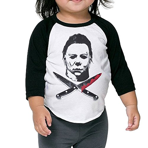 BABBY Michael Myers Kids Toddler 3/4 Sleeves Baseball T Shirt Unisex (All Michael Myers Mask)