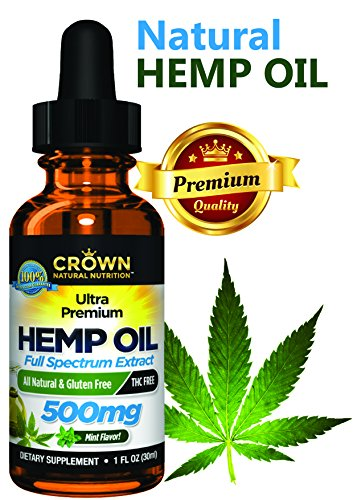 Hemp Oil for Pain & Anxiety Relief, 500 Mg Drops Full Spectrum Hemp for Joint Pain, Sleep, Mood, Skin Health, Inflammation, Omega 3 6 9 by CROWN NATURAL NUTRITION