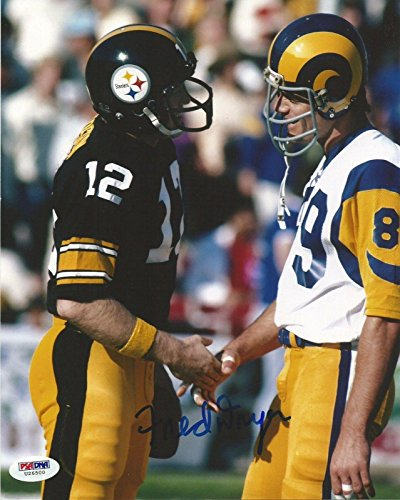 Fred Dryer Signed Rams 8x10 Photo COA Picture Auto w/ Terry Bradshaw TKE - PSA/DNA Certified - Autographed NFL Photos