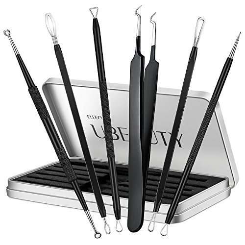 Blackhead Remover, ElleSye 6-PCS Pimple Comedone Extractor, Blackhead Removal tool, Whitehead Blemish Acne Zit remover tweezer kit for Risk Free Nose Face, Antibacterial Coating Handle (Nose Needle Head)
