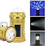 BizoeRade Solar Camping Lantern Collapsible LED Party Light Portable Flashlight Rechargeable Solar Power Bank for Cell Phone Tablet Outdoor Trekking Hiking Tent Fishing USB Cable Include