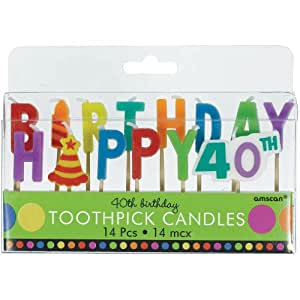 40th Birthday Toothpick Candles Party Accessory
