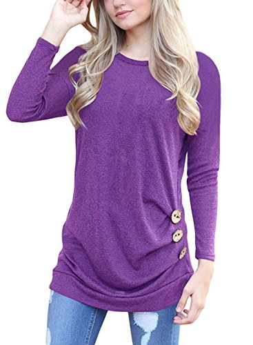 - Fantastic Zone Womens Casual Long Sleeve Buttons Round Neck Shirt Tunic Tops,Purple,Medium