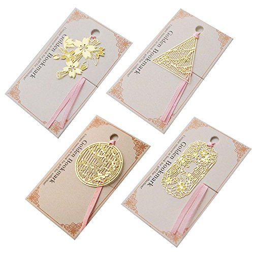 Chinese Style Bookmarks 4 Pcs Golden Mini Creative Bookmark Cherry Blossoms for Teachers Students Kids