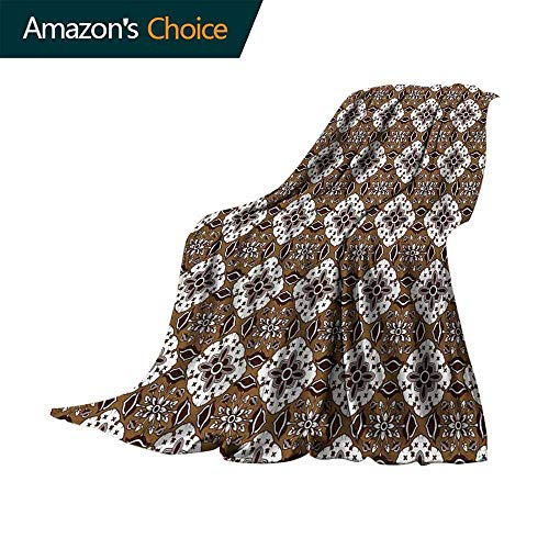 vanfan-home Chocolate Sand Free Beach Blanket,Brown Toned Ancestral Batik Pattern with Floral Indonesian Motifs Soft Summer Cooling Lightweight Bed Blanket (70