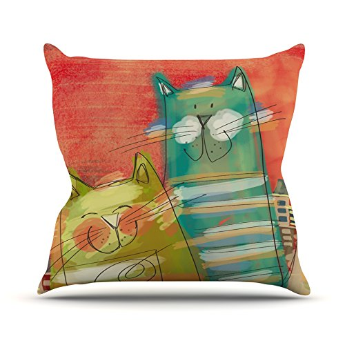 Cat Orange 16 by 16 Kess InHouse Carina Povarchik Gatos Throw Pillow
