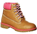 New!! Lace-up Quilted-Ankle/Fold-Over Lug Sole Ankle Boots Multiple Styles(7, Tan/Pink)[Apparel]