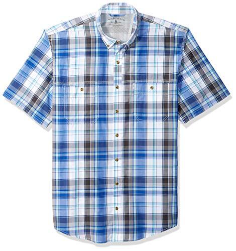G.H. Bass & Co. Men's Big Explorer Short Sleeve Plaid Shirt, Stellar, 4X-Large Tall