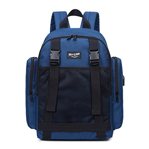 Laptop Fabric Unisex Backpack Blue Backpack Large Backpack Tibes Student Women USB Oxford B Backpack wwFqvt