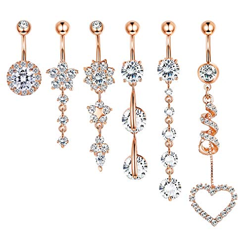 FIBO STEEL 9-10 Pcs Dangle Belly Button Rings for Women Girls 316L Surgical Steel Curved Navel Barbell Body Jewelry - Belly Button Design