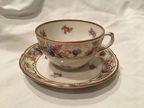 (Schumann Bavaria Germany EMPRESS DRESDEN FLOWERS Cup and Saucer Set )