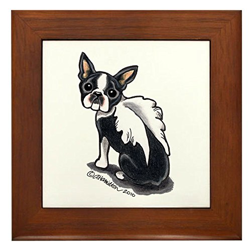 CafePress - Boston Terrier Angel Framed Tile - Framed Tile, Decorative Tile Wall Hanging -