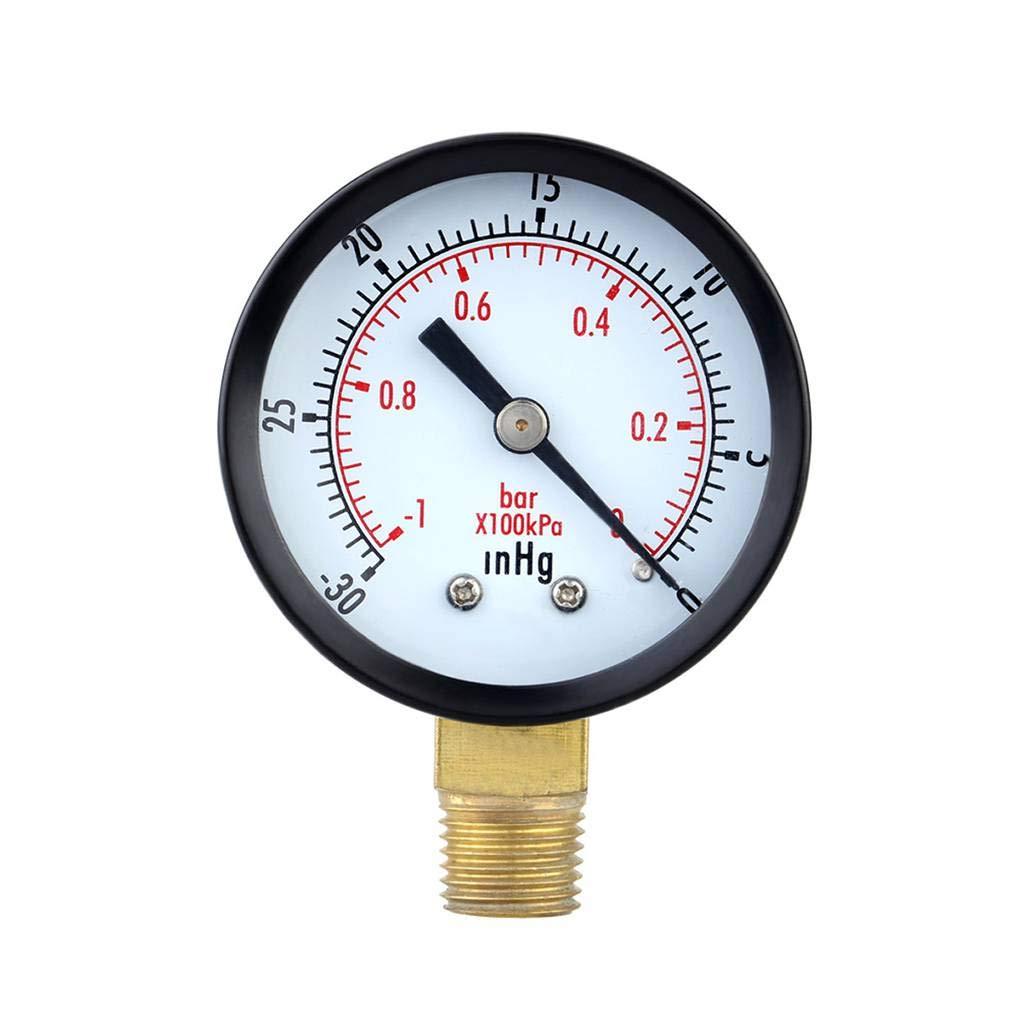 Luckiests 0-30inHg 0-1bar Jauge Mini Cadran Pression Compteur Vide Double manom/ètre Balance Pression dair Outil de Mesure