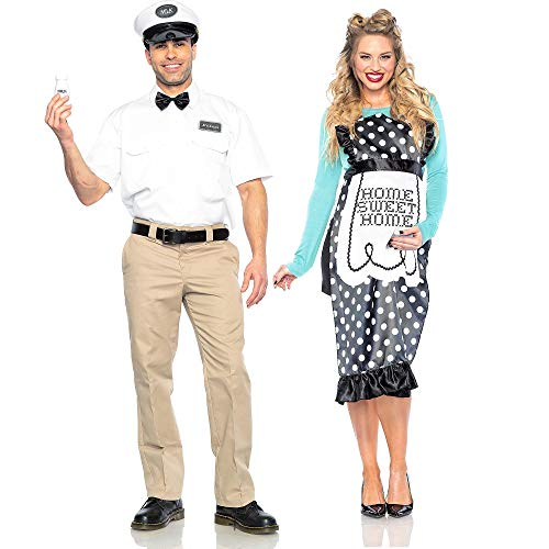 Seeing Red Milk Man and 40s Mom Couples Costumes for Adults, Standard Size, His and Hers Honeymoon Throwback Look