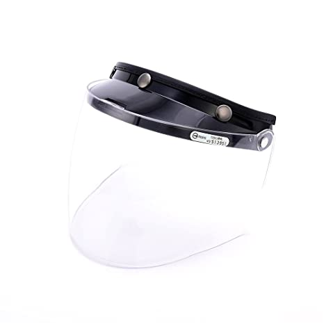32757b99 Amazon.com: Universal 3 Snap Flip Up Visor Face Shield Lens for Open Face  Motorcycle Helmets by MotorFansClub (Clear, One Size): Automotive