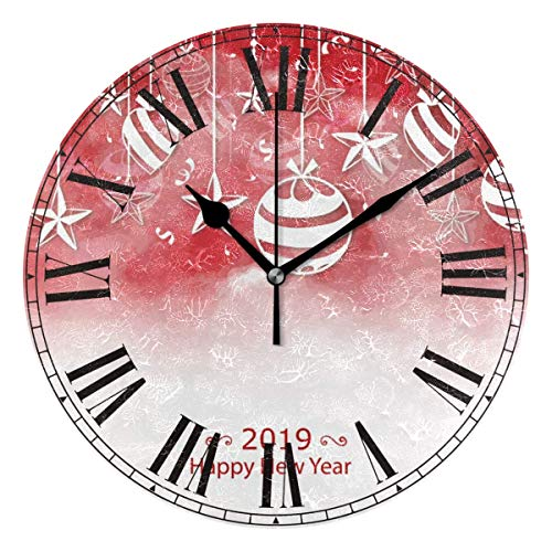 Price comparison product image PENGTU Red Watercolour 2019 Baubles Round Acrylic Premium Wall Clock Silent Non Ticking Decorative Clock Art Home Office School