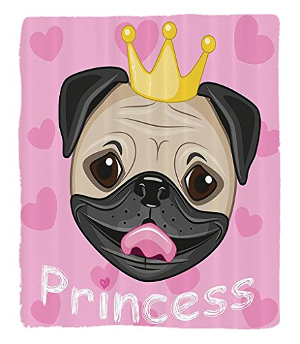 Chaoran 1 Fleece Blanket on Amazon Super Silky Soft All Season Super Plush Teen Girls Decor Collection Happymiling Princess Pug Dog wearing Tiara pink Hearts in the Background Fabric et Pink by chaoran