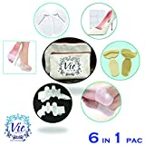 6 In 1 Pack- Metatarsal Foot Pads, Ball of Foot Cushions, Toe Separators, Comfortable High Heel Grips, Gel Heel Socks and Blister Pads - Best for Women Complete Foot Care Kit by Vie Vibrante