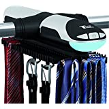 Motorized Revolving Tie and Belt Rack with Built in LED Light - Automatic Tie Rack Rotates Forwards & Backwards - Holds 72 Ties and 8 Belts - Bottom Hooks for Belts & Other Accessories