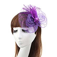 ThaliaDress Lady Girl Feather Fascinator Hair Clip Hat For Paty Wedding T001TS Purple