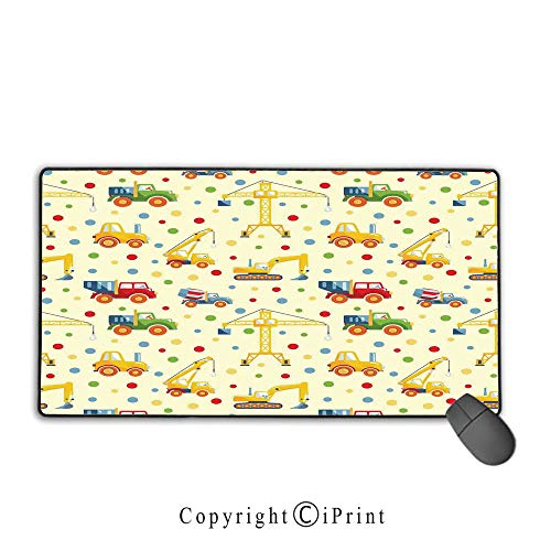 Large Mouse pad,Kids,Construction Machines Toys Print Colorful Dots Lorry Digger Truck Tractor Themed Print,Suitable for laptops, Computers, PCs, Keyboards, Mouse pad with Lock,9.8