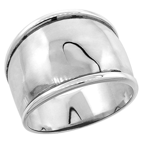 Sterling Silver Dome Cigar Band Ring for Women 7/16 inch size (Sterling Silver Cigar Band Ring)