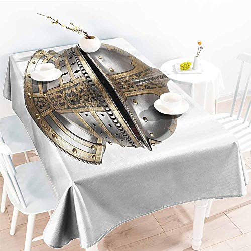 Fabric Dust-Proof Table Cover Medieval Decor Collection Iron Helmet of The Medieval Knight Heavy Headdress Tournament Tradition Design Art Silver Gold Table Decoration W52 - Helmet Charm Italian
