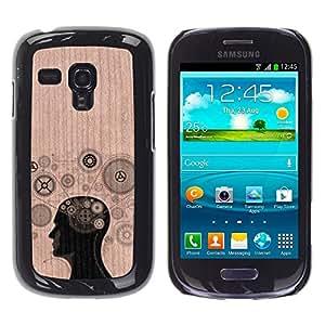 - / Gears Thought Clever Engineer - - Funda Delgada Cubierta Case Cover de Madera / FOR Samsung Galaxy S3 Mini I8190 / Jordan Colourful Shop/