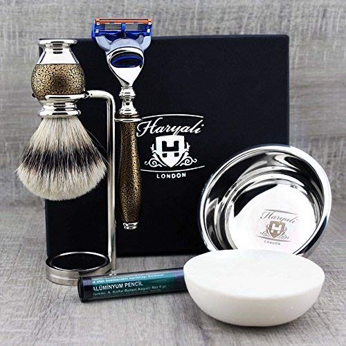 Silver Tip Brush & Gillette Fusion Razor with Stand, Bowl & Soap Kit. Haryali London