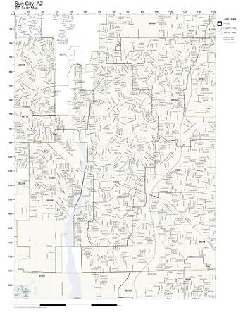 Amazon Com Zip Code Wall Map Of Sun City Az Zip Code Map Laminated
