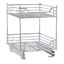 Household Essentials C21417-1 Glidez 2-Tier Sliding Organizer - Pull Out Cabinet Shelf - 14.5 Inches Wide