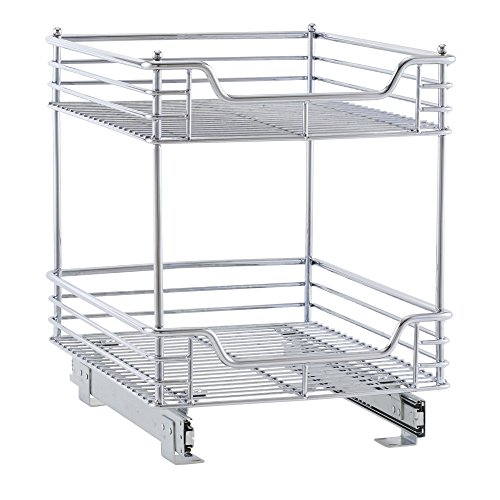 (Household Essentials C21417-1 Glidez 2-Tier Sliding Organizer - Pull Out Cabinet Shelf - 14.5 Inches)