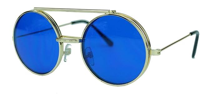 Retro Sonnenbrille oversized Lennon Flip up Style Herren Damen Metallrahmen klappbare Gläser NG (Schwarz / Amber) QEqup