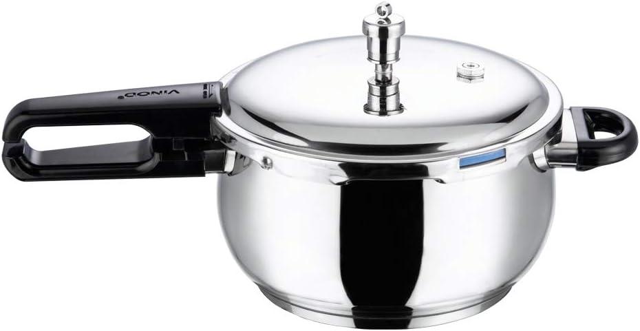 Vinod V-5.5L Splendid Plus Handi Stainless Steel Pressure Cooker, 5.5-Liter