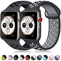 ATUP コンパチブル Apple Watch バンド 42mm 38mm 44mm 40mm、ソフトシリコン交換用リストバンド iWatch series 5/4/3/2/1に対応、iWatchは含まれていません (42/44 S/M, 14 暗灰色/黒+黒/グレー)
