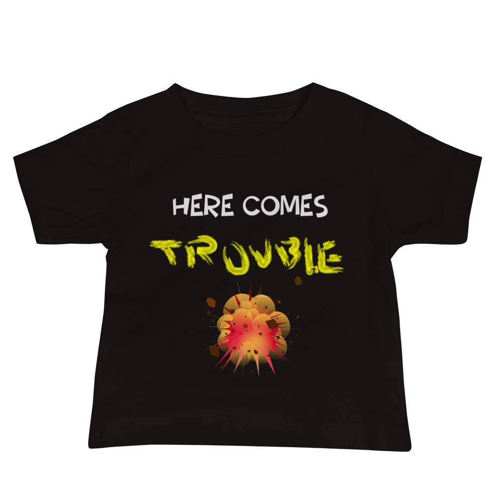 Velocity Living Here Comes Trouble There Goes Trouble Version 3 Baby Jersey Short Sleeve Tee