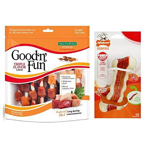 Good'n'Fun Triple Flavored Rawhide Kabobs Dog Treats, 12-Ounce w/Bacon Bone Toy -
