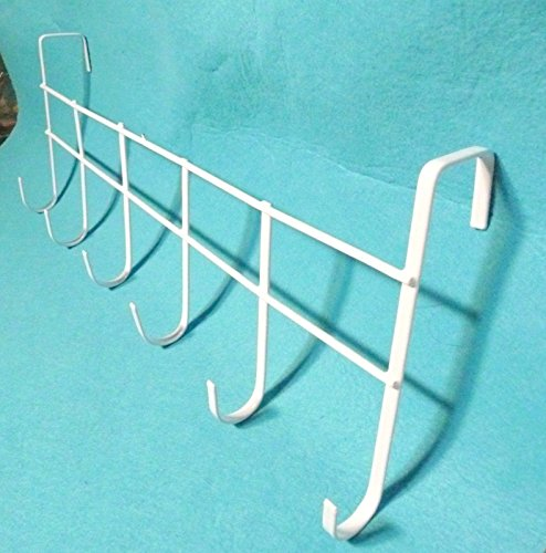 Hooks Over The Door Home Office Bathroom Coat Towel WHITE 17 Inch Hanger Rack hooks command hooks wall 6 Hooks