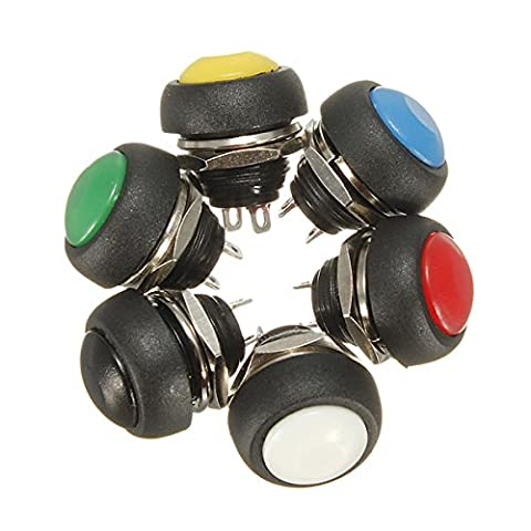 Car Auto Momentary OFF ON Push Round Button Horn Switch Multicolor(Red) (Push Button Bike Horn)
