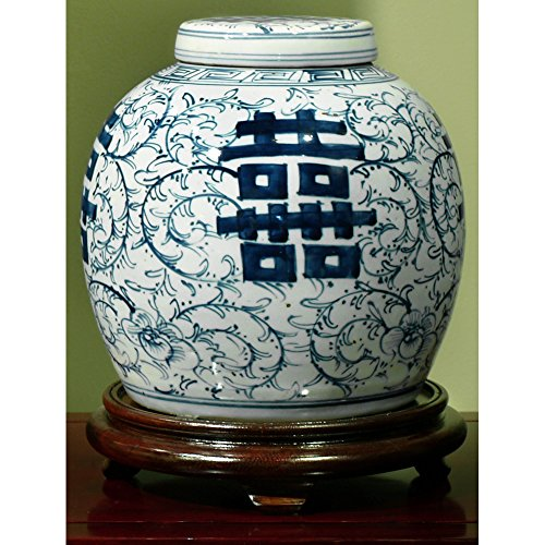 Beautiful Hand Painted Floral Vase (China Furniture Online Porcelain Jar, Hand Painted Floral Motif with Double Happiness Design Ginger Jar with Lid Blue and)