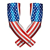 Bucwild Sports Compression Arm Sleeves (Pair) Youth & Adult Sizes Football, Baseball, Basketball, Cycling, Tennis USA Flag Adult Medium