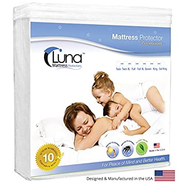 Full Size Luna Premium Hypoallergenic Waterproof Mattress Protector - Made in the USA