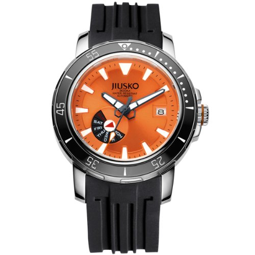Jiusko Mens 24 Jewel Automatic Deep Dive Watch - 300m Scuba - Sapphire - Day Date - Orange Dial - Black Rubber Strap - (Day Date Automatic Titanium Watch)