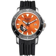 Jiusko Mens 24 Jewel Automatic Deep Dive Watch - 300m Scuba - Sapphire - Day Date - Orange Dial - Black Rubber Strap - 75LSB12