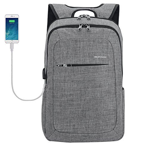 Kopack Slim Business Laptop Backpacks Anti thief Tear/water Resistant Travel Bag fits up to 15 15.6 Inch Macbook Computer Backpack in Gray - Laptop Shop