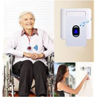 Wireless Smart Caregiver Pager Call Button Personal Alert Pager , Wireless Door bell Chime/Alert, For Home Attendant, Nurses, Seniors and Disabilities, 1 Receiver with LED Night Light & 2 Transmitter