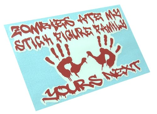 [Zombies Ate My Stick Figure Family Decal Nobody cares about your Funny Vinyl Sticker (Come with Zombie Hunter Permit] (Zombie Family Decals)